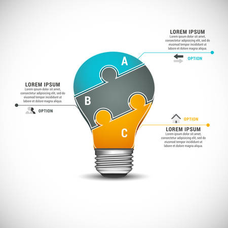 Vector illustration of business infographic made of puzzle bulb.  Vector