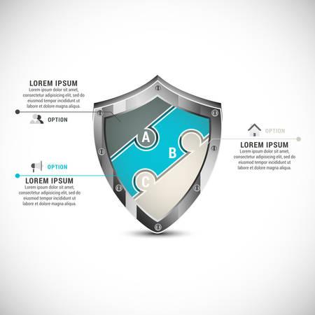 ビジネスのインフォ グラフィックのベクトル イラスト パズルを成っています。  イラスト・ベクター素材