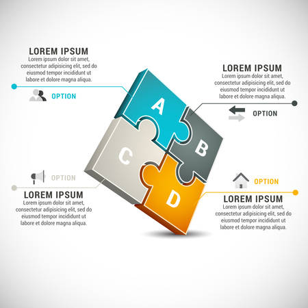 illustration of business infographics made of puzzle. Ilustração