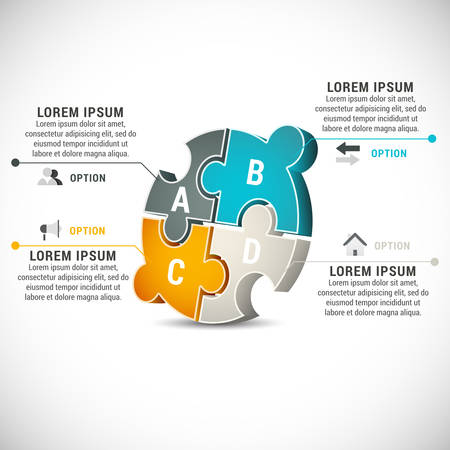 illustration of business infographics made of puzzle. Vector