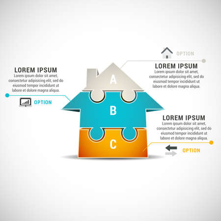 real estate icon: illustration of business infographic made of house.