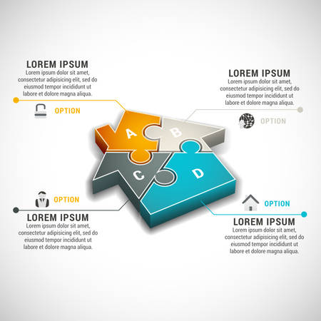 illustration of business infographic made of house.