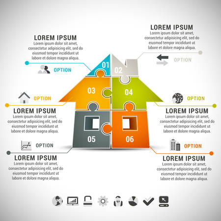 Business infographic with house made of puzzle. Çizim