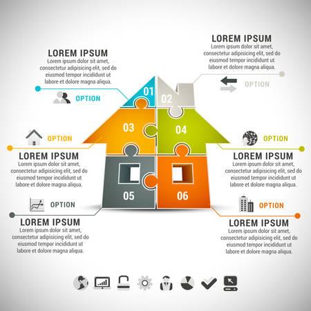 Zakelijke infographic met huis gemaakt van puzzel.