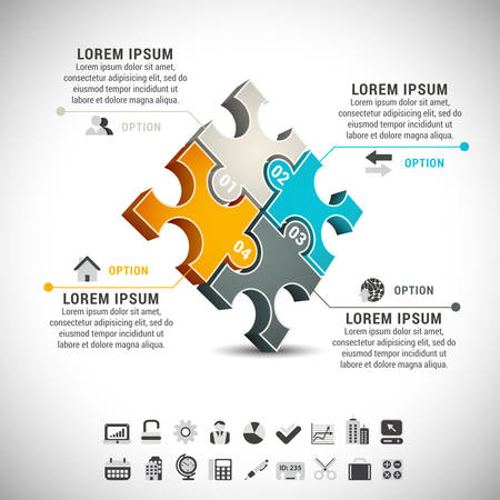 Business infographic made od puzzle.  Vector