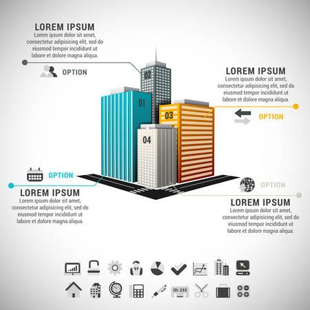 Vector illustratie van vastgoed infographic gemaakt van gebouwen.