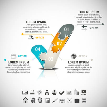 Business infographic with check mark made of puzzle.