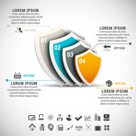 Vector illustration of business infographic made of shields. Vector