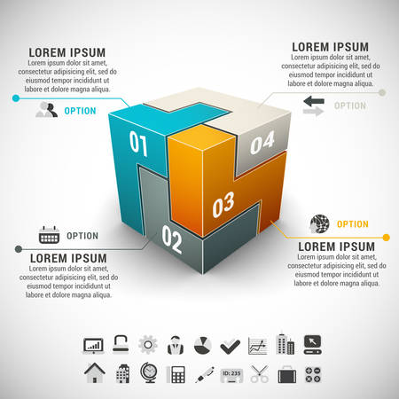 Vector illustration of business infographic made of different blocks.