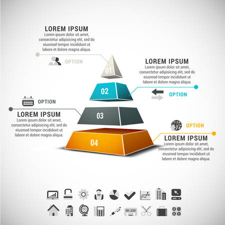 Business infographic made of pyramid. Stock Illustratie