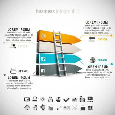 ビジネスのインフォ グラフィック製ブロックとはしご。  イラスト・ベクター素材