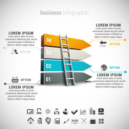 corporate ladder: Business infographic made of blocks and ladder.