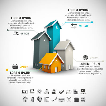 Real estate infographic made of colorful houses. Stock Illustratie