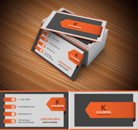 business card template: Vector illustration of modern creative business card.