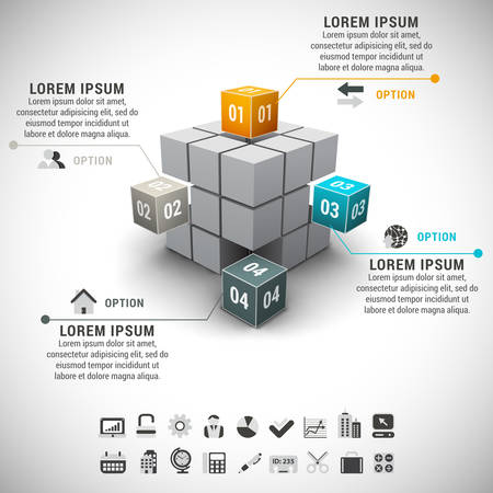 illustration of business infographic made of cubes.