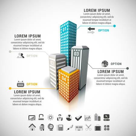 カラフルな建物から成っている不動産のインフォ グラフィックのイラスト。