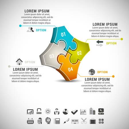 ビジネス インフォ グラフィックのイラストはパズルに成っています。