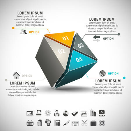 Vector illustration of business infographic made of cube.