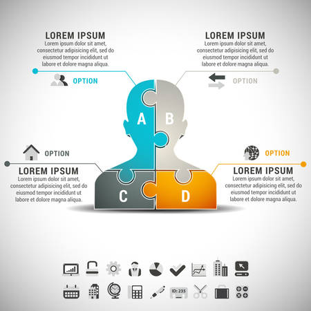 man made: Vector illustration of business infographic with man made of puzzle.
