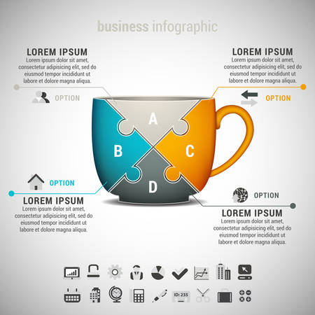 Vector illustration of business infogrphic with cup made of puzzle.