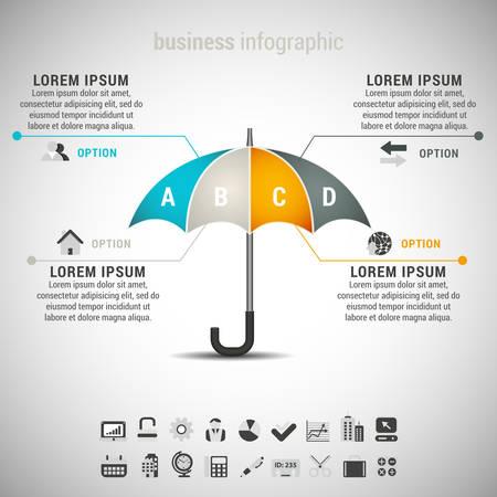 傘のインフォ ビジネス グラフィックのイラスト。