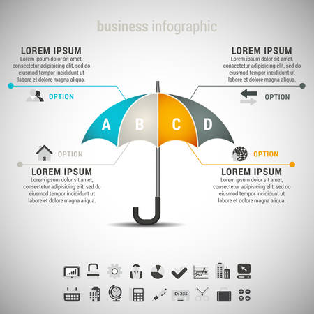 illustration of business infographic with umbrella.