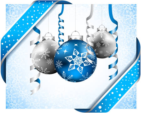 christmas ornament: Vector illustration of Christmas decoration with balls and ribbons.