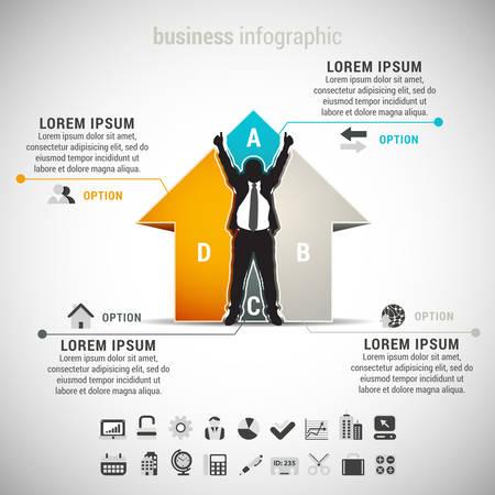 Vector illustratie van zakelijke infographic gemaakt van huis en zakenman. EPS10. Stockfoto - 32837352