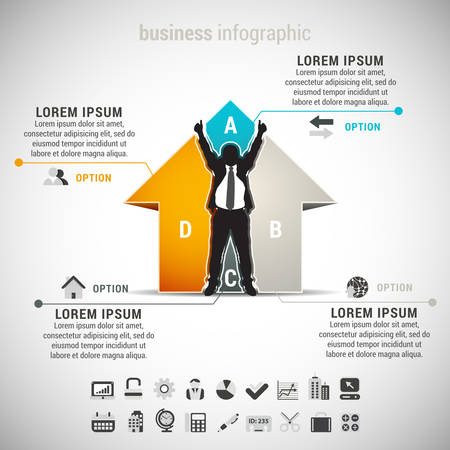 Vector illustration of business infographic made of house and businessman. EPS10.