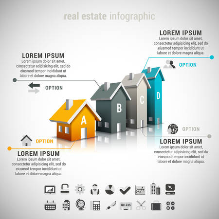 marketing icon: Vector illustration of real estate  infographic made of houses. 22 icons inside file. EPS10.