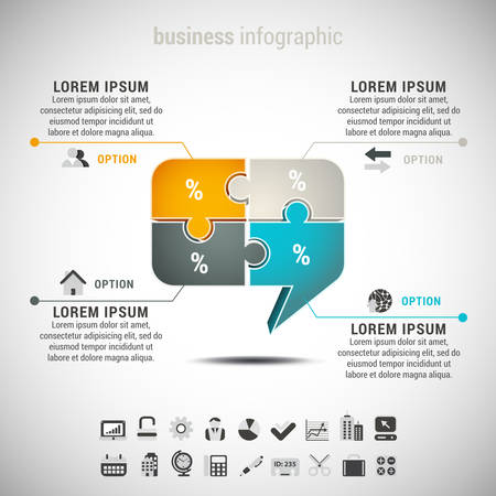 Vector illustration of business infographic with chat box made of puzzle. EPS10. Vector