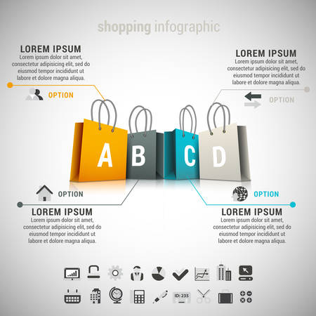 shopping bag icon: Vector illustration of shopping infographic made of bags. EPS10.