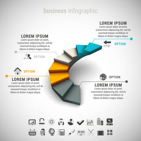 Vector illustration of business infographic made of stairs. EPS10.
