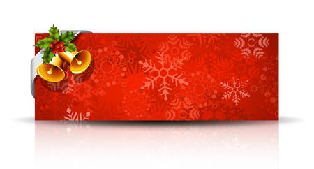 holly berry: illustration of Christmas banner with bell and holly berry.