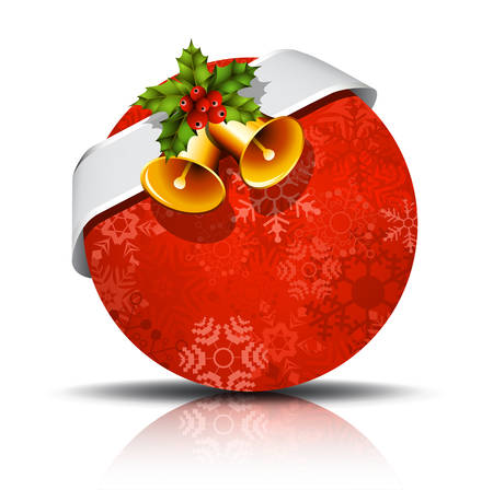 holly berry: Vector illustration of Christmas banner with bell and holly berry. Illustration