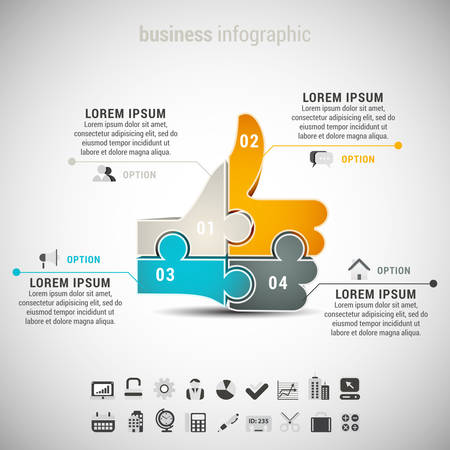Vector illustration of business infographic with like symbol made of puzzle.