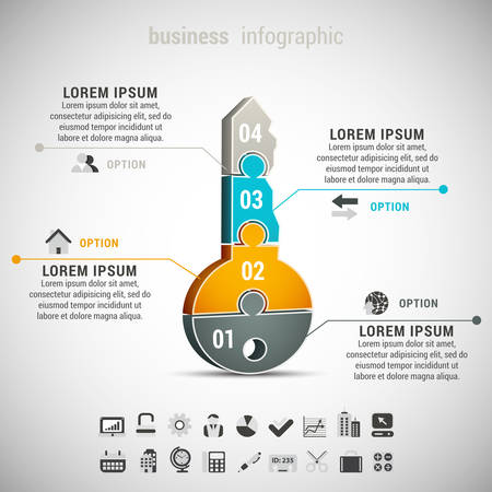 Vector illustration of business infographic with key made of puzzle. Vettoriali