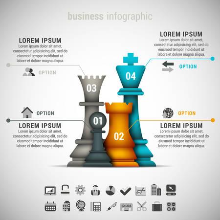 Vector illustratie van zakelijke infographic gemaakt van schaakstuk.