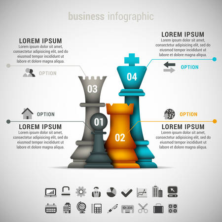 chessman: Vector illustration of business infographic made of chessman. Illustration