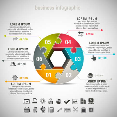 illustration of business infographic made of puzzle.