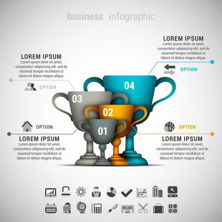 illustration of business infographic made of winner cups.