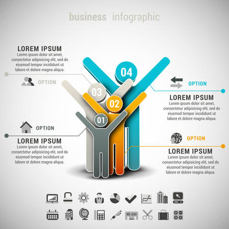 happy people: Vector illustration of business infographic made of people.