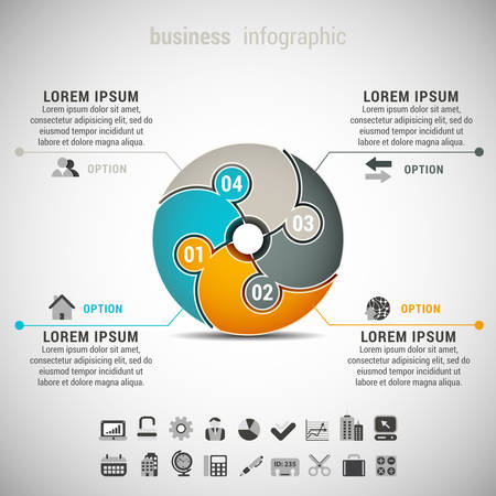 Vector illustration of business infographic made of puzzle.