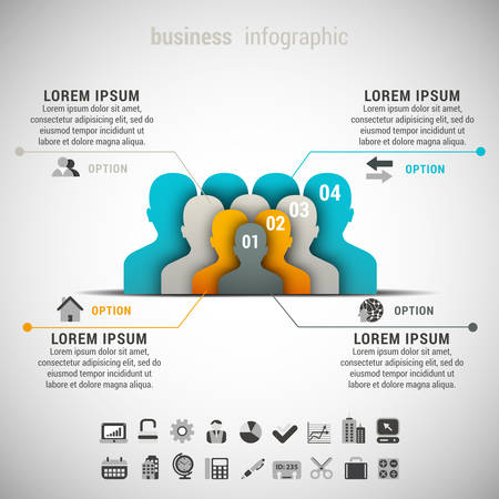 business decisions: Vector illustration of business infographic made people.