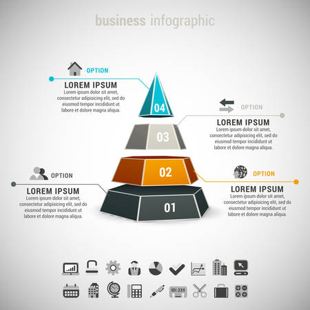 Vector illustration of business infographic made of cone.