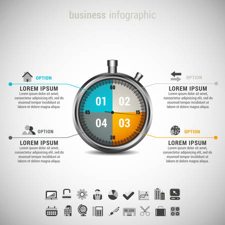 Vector illustration of business infographic made of stopwatch.