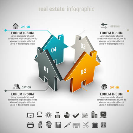 real: Vector illustration of real estate infographic made of houses.