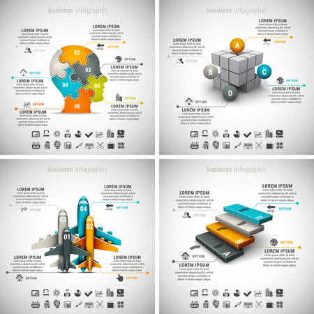 stairs: Vector set of different business infographics. Vol.1.