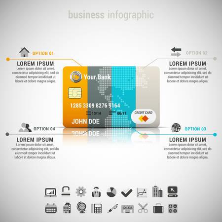 Vector illustratie van zakelijke infographic gemaakt van een creditcard.