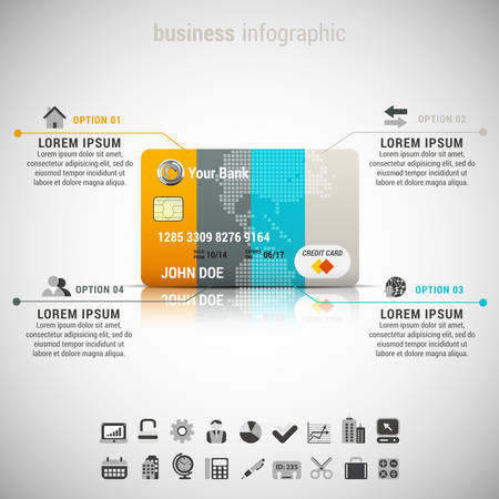 Vector illustration of business infographic made of credit card. Ilustração